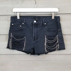 Forever 21 Distressed Black Chain Cut Off Shorts